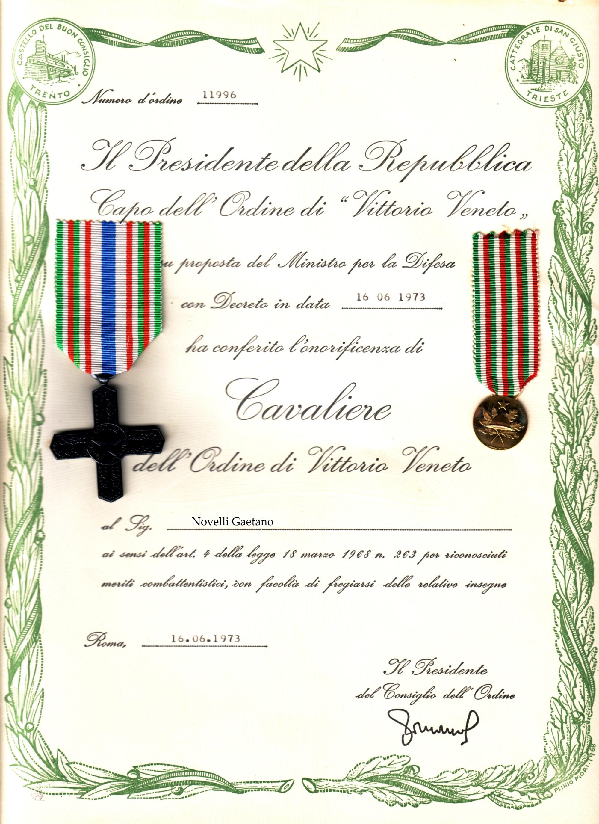 Cav Vittorio Veneto Novelli Gaetano